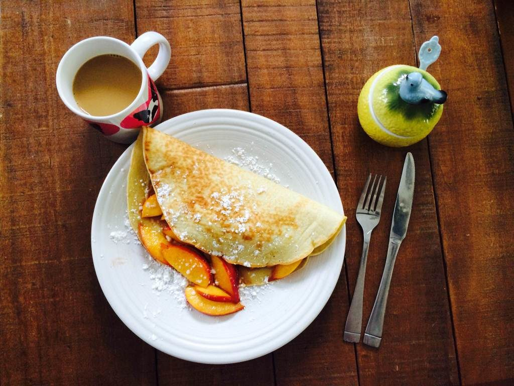 Vanilla Crepe Recipe stuffed with Bourbon Soaked Peaches