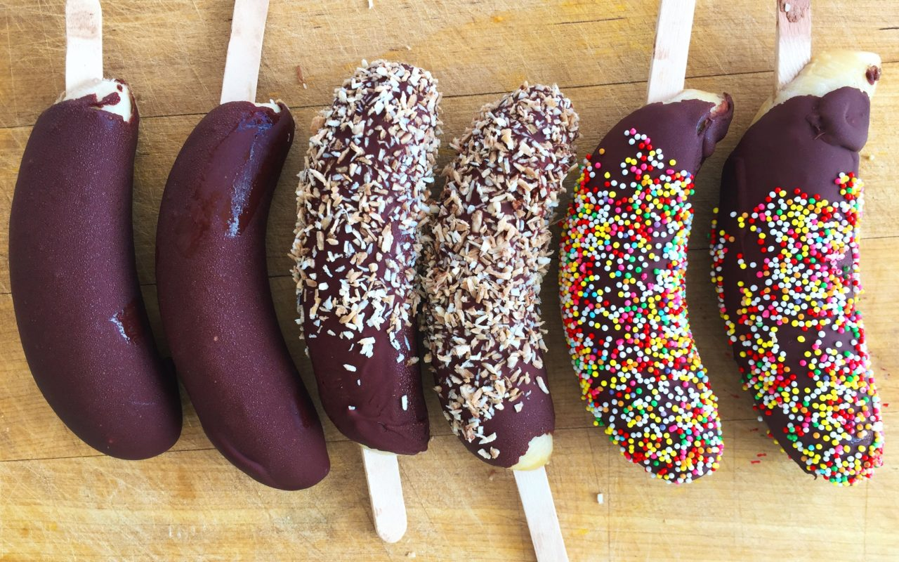 Chocolate-covered Frozen Banana Pops