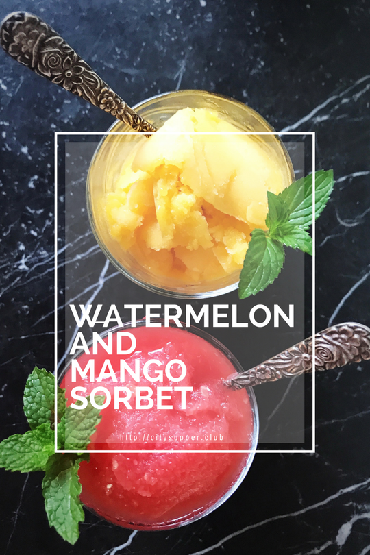 Watermelon and Mango Whole-fruit sorbet
