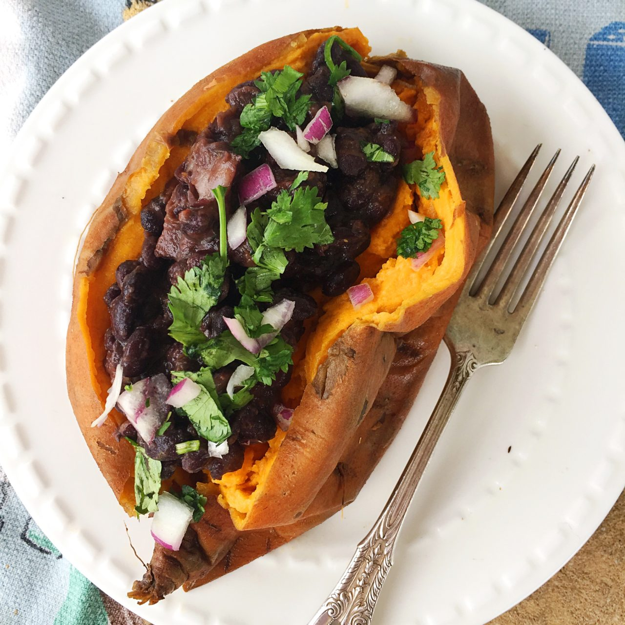 Spicy Black Bean Stuffed Sweet Potato